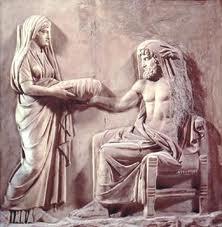 Rea dà a Crono una pietra in un panno, fingendo che sia il piccolo Zeus