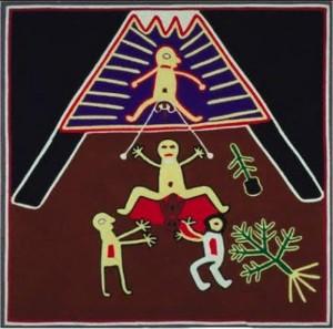 Parto rituale secondo gli Indios  Huicholes  del Messico Il padre (sopra) ha i testicoli legati ad una corda che la partoriente può tirare per condividere terapeuticamente il dolore.