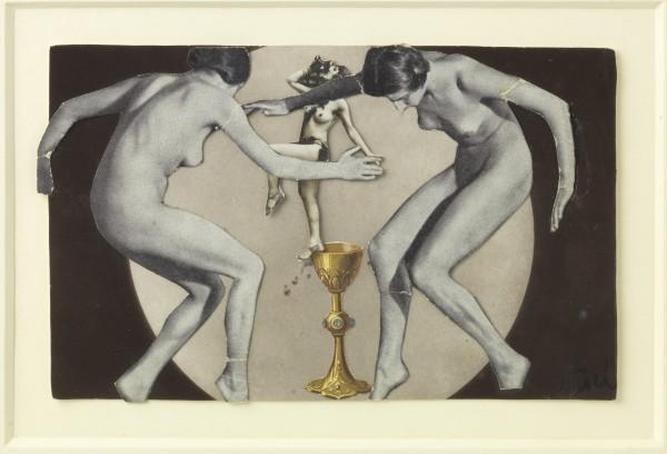 """Maria """"Nusch"""" Éluard Nudes dancing around a gold chalice [Nudi che ballano attorno a un calice d'oro], 1937"""