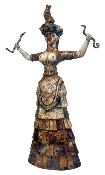 Minoan Snake Goddess  from Knossos, Crete c. 1600 BCE  faïence,  height 13 1/2 inches (34.3 cm)  (Archeological Museum, Herakleion)