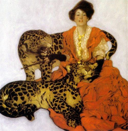 Sarah-Stilwell-Weber-1878-1939-Donna-con-leopardi