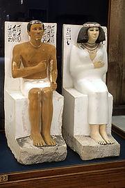Statue di Rahotep e Nofret (2600 a.C. circa), Il Cairo, Museo Egizio